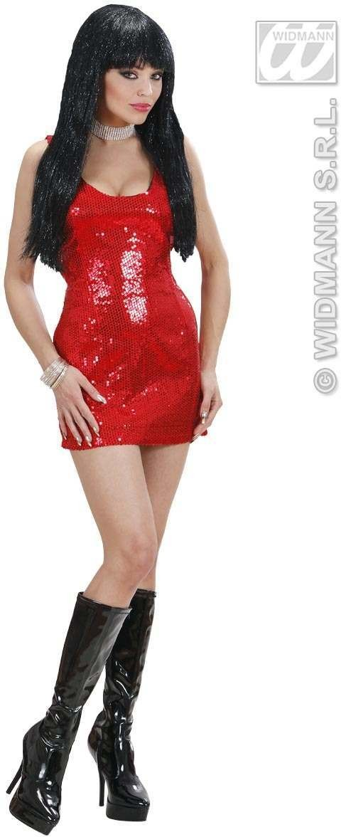 Red Sequin Dress Fancy Dress Costume Ladies