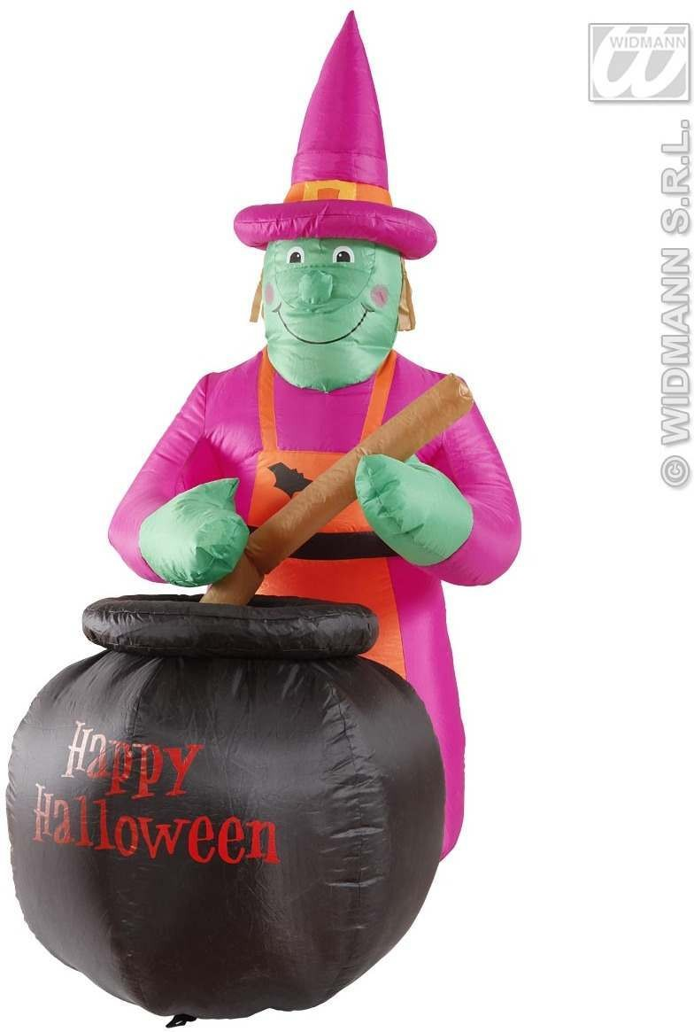 Inflatable Light-Up Witch & Cauldron 183Cm Fancy Dress (Halloween)