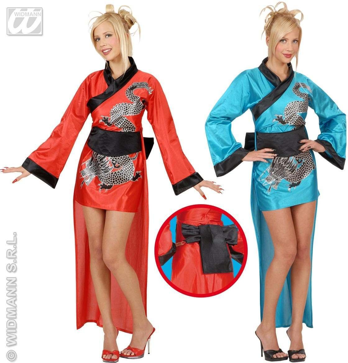 Dragon Girl Adult Costume Red Or Blue Costume Ladies (Animals)