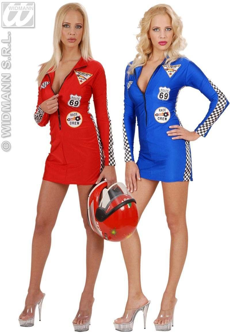 Grand Prix Babe Costume Red/Blue Fancy Dress Costume (Sport)
