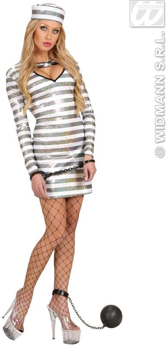 Black/White Holographic Fabric Jailbird Fancy Dress