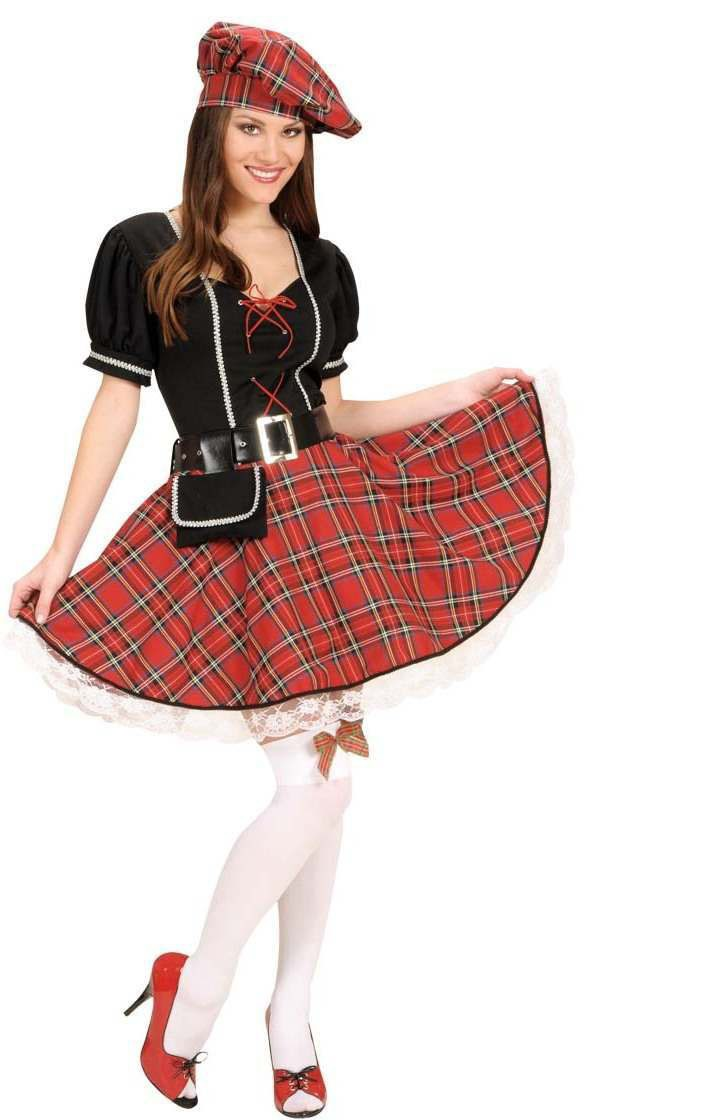 Bonnie Scot Dress,Belt,Purse,Hat Fancy Dress Costume (Cultures)