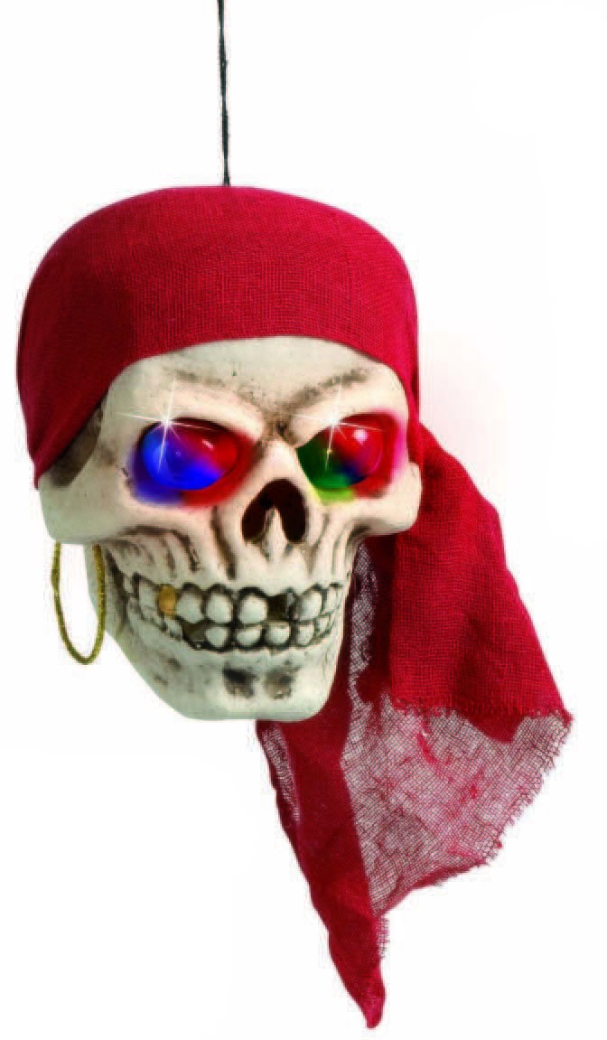 Pirate Skulls With Color Light 40Cm - Fancy Dress (Pirates)