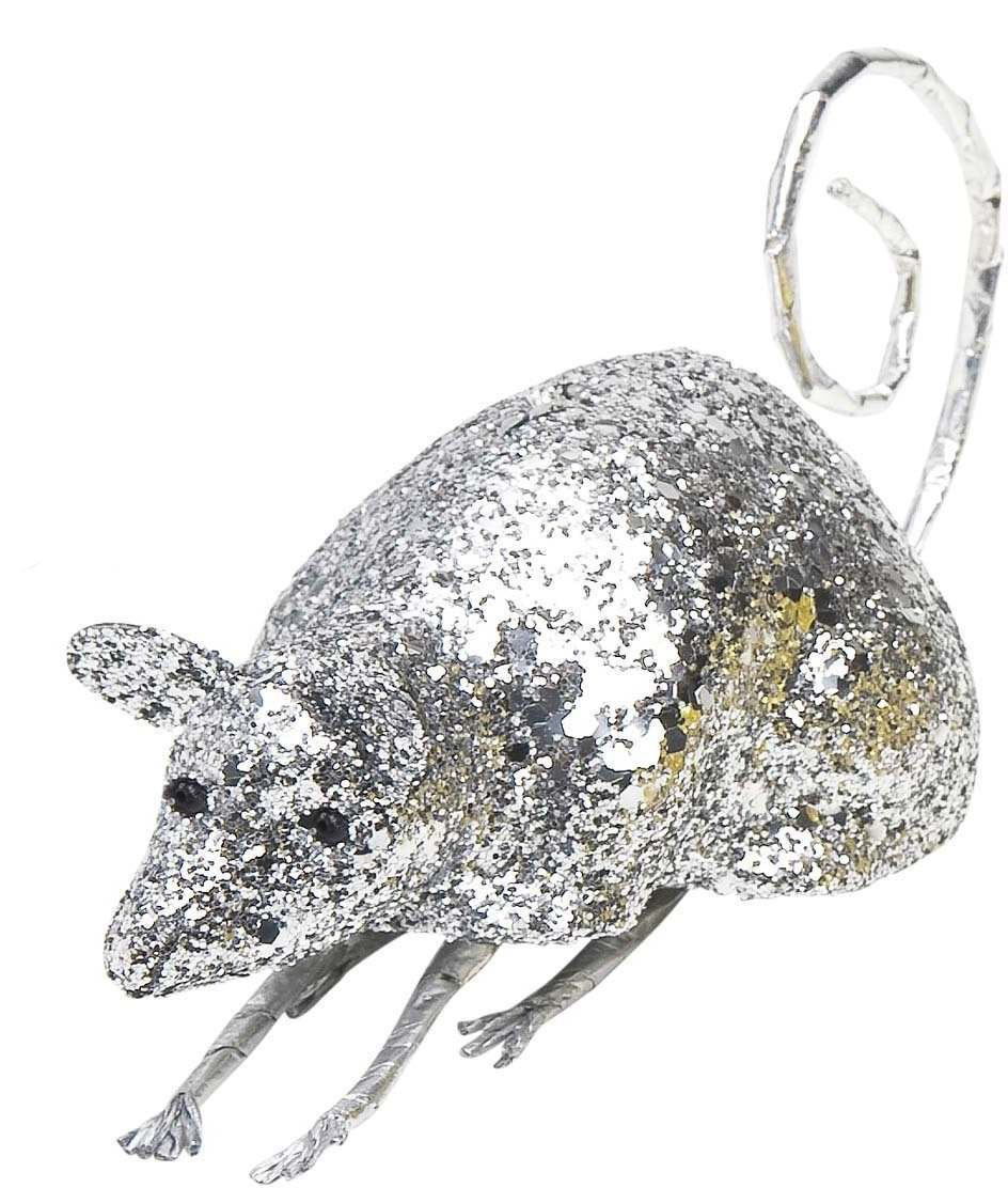 Silver Glitter Mice 12Cm - Fancy Dress (Halloween)