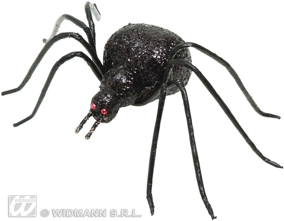 Black Glitter Spiders 7Cm - Fancy Dress (Halloween)