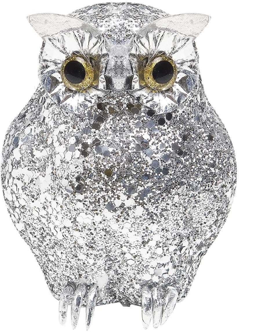 Silver Glitter Owls 11Cm - Fancy Dress (Halloween)