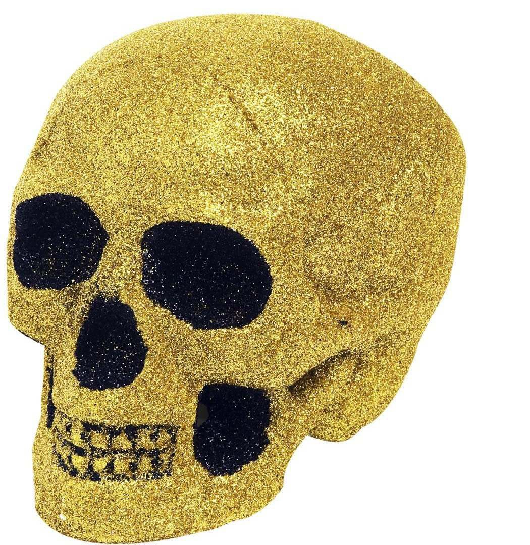 Gold Glitter Skulls 19Cm - Fancy Dress (Halloween)