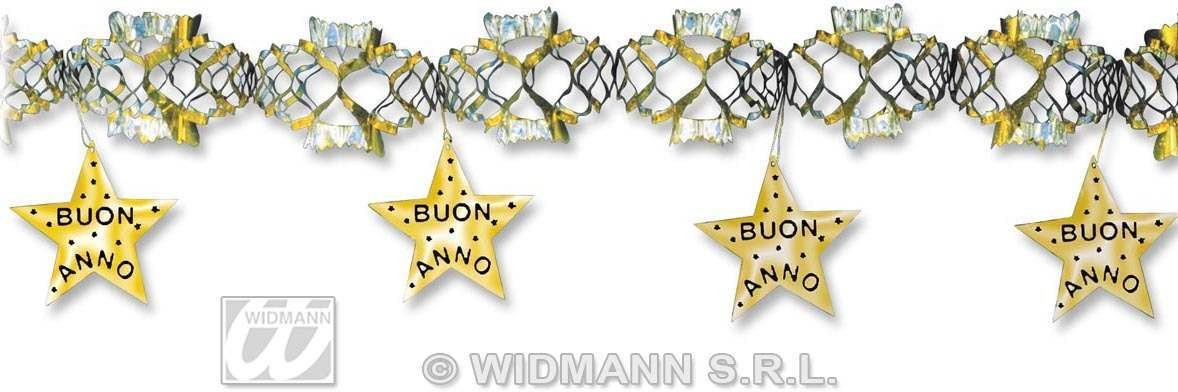 Holographic Buon Anno Oro Garlands-3 M Fancy Dress