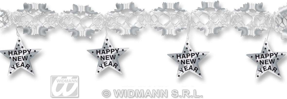 Garland Happy New Year 3M Silver - Fancy Dress