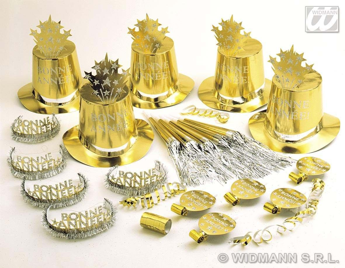 Gold Bonne Annee'Party Kit For 10 People Fancy Dress
