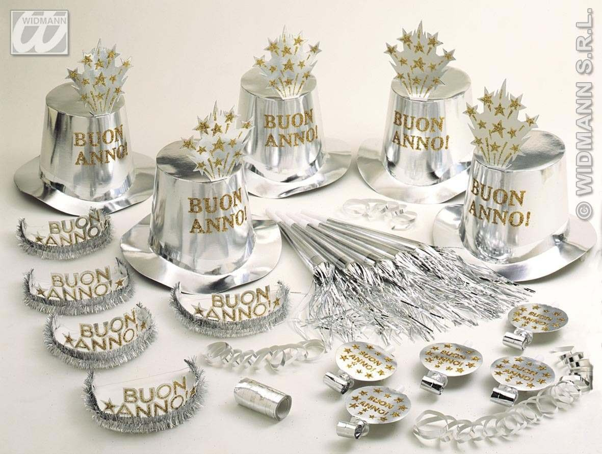 Silver Buon Anno Party Kit For 10 People Fancy Dress