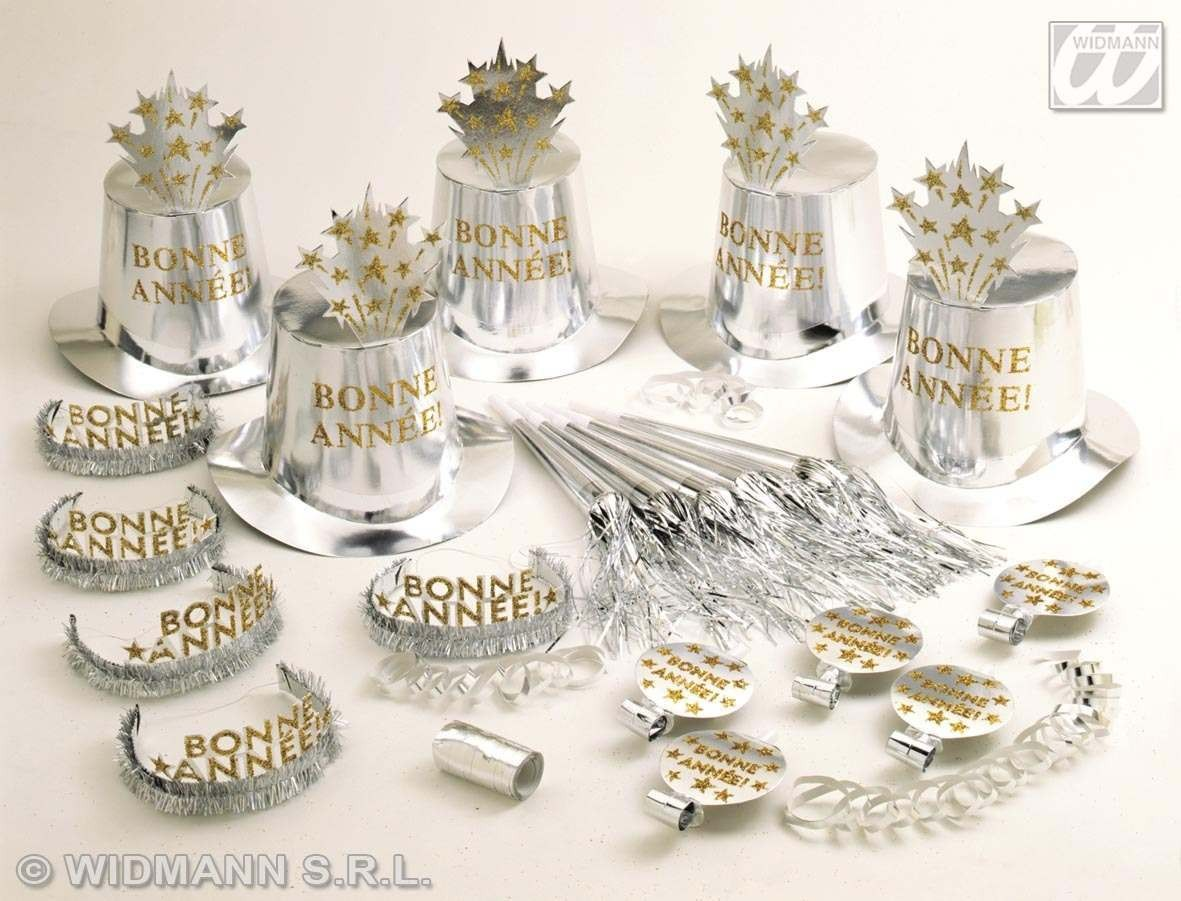 Silver Bonne Annee'Party Kit For 10 People Fancy Dress