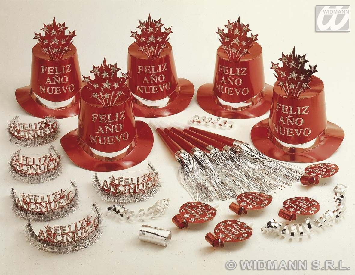 Red Feliz Ano Nuevo Party Kit For 10 People Fancy Dress