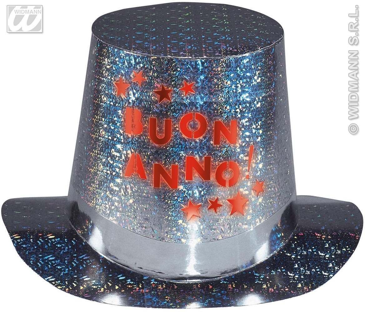 Flashing Light Buon Anno Holographic Tophat Fancy Dress