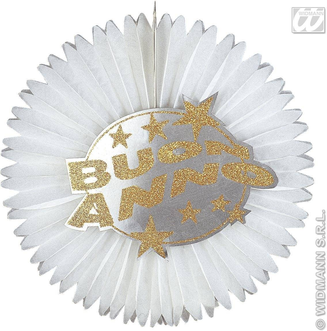Holograph.Buon Anno Paper Fans-D.55Cm-2 Col Fancy Dress
