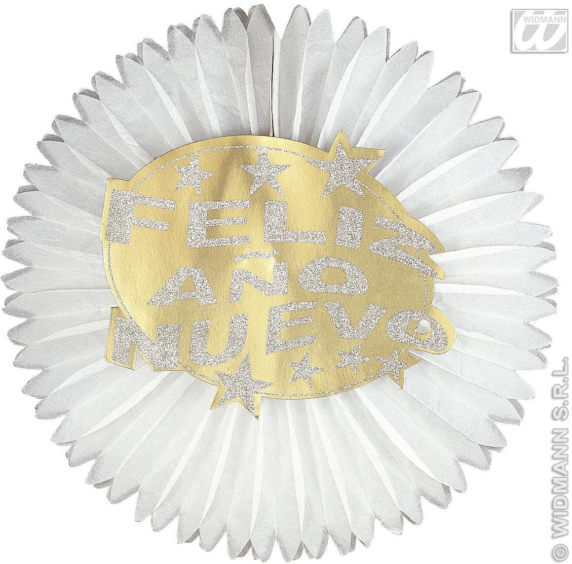 Hologr.Feliz Ano Nuevo Paper Fans-Diam.55Cm Fancy Dress