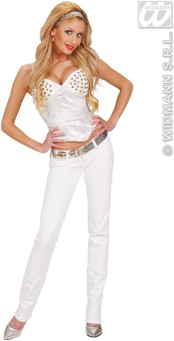 Satin White Studded Corsets - Fancy Dress