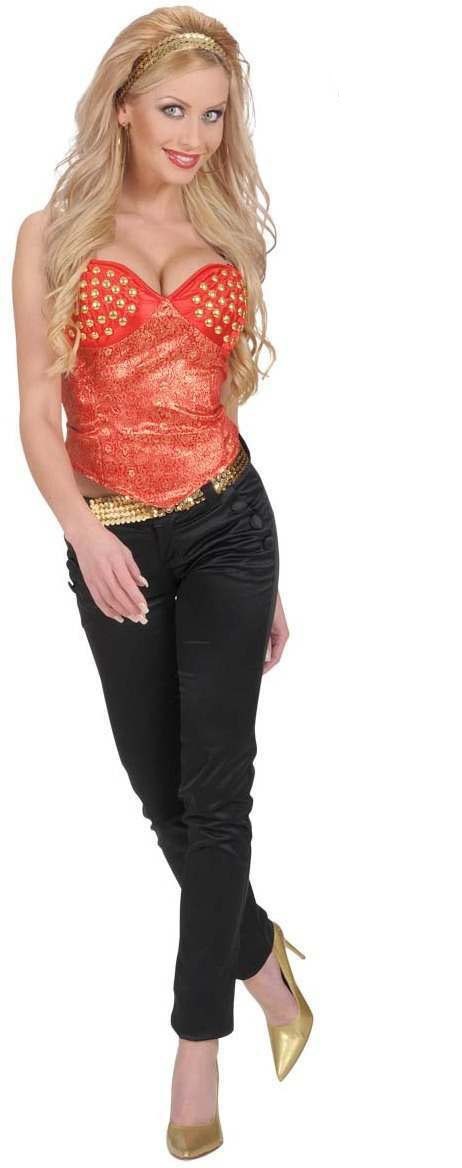 Satin Red Studded Corsets - Fancy Dress