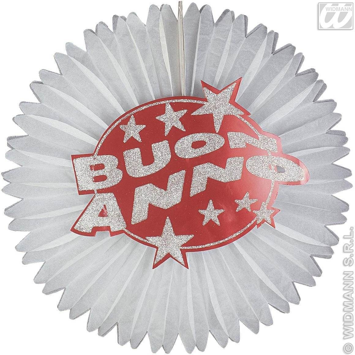 Holograph.Red Buon Anno Paper Fans Fancy Dress