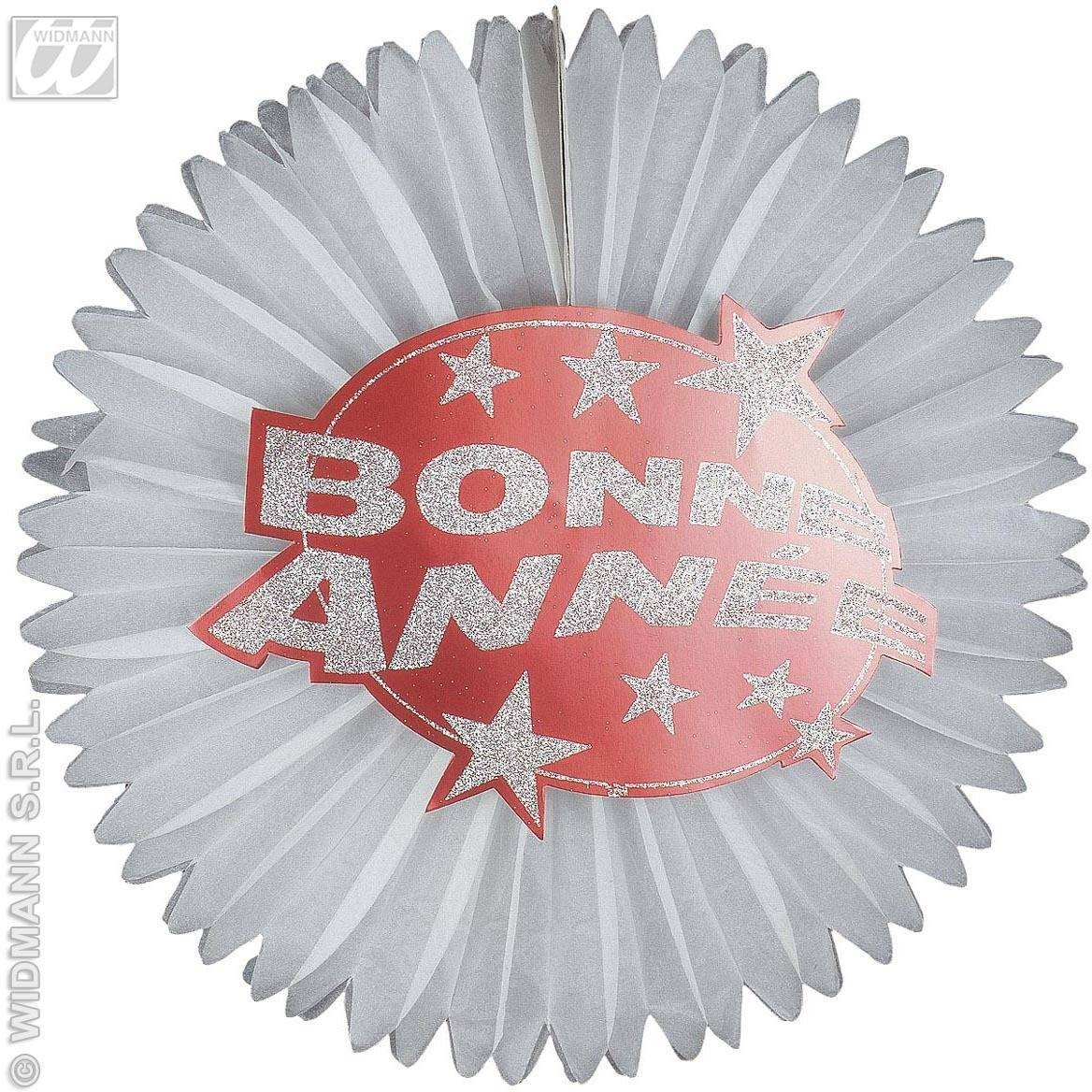 Holograph.Red Bonne Annee'Paper Fans-D.55Cm Fancy Dress