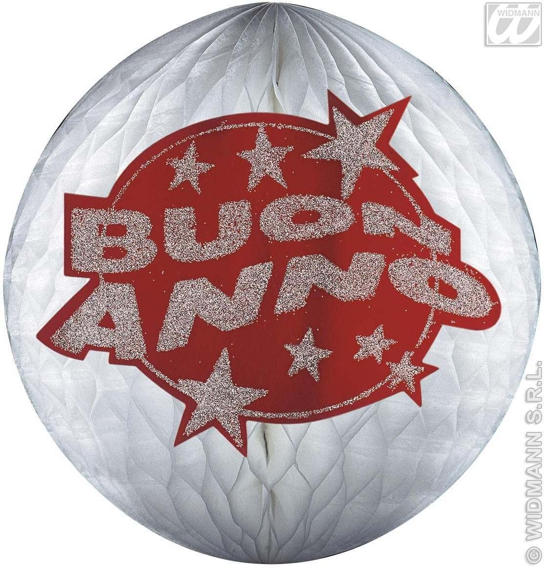 Hologr.Red Buon Anno Honeyc.Paperballs-25Cm Fancy Dress