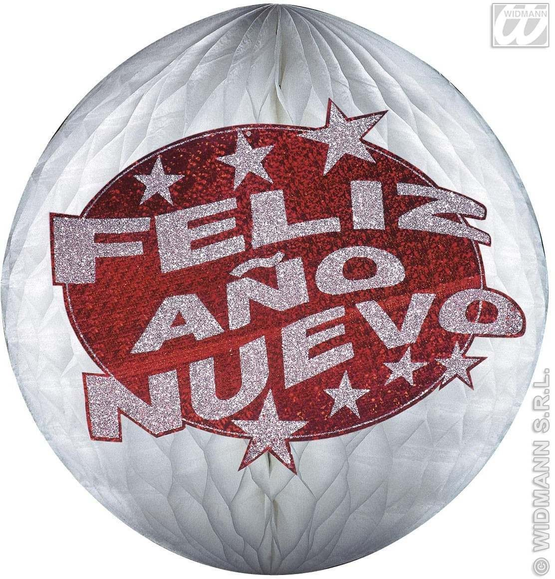 Hologr.Red Feliz Ano Nuevo Honeyc.Pap.Balls Fancy Dress