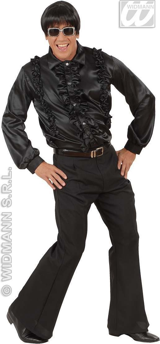 Satin Ruffle Shirt Black Fancy Dress Costume