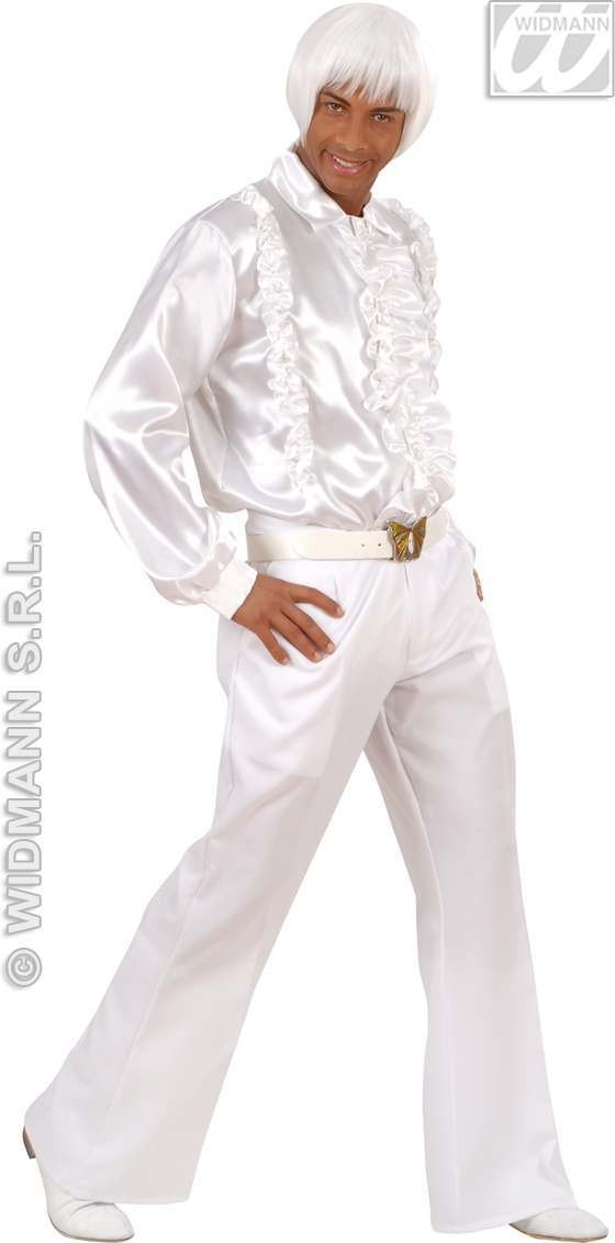 Satin Ruffle Shirt White Fancy Dress Costume