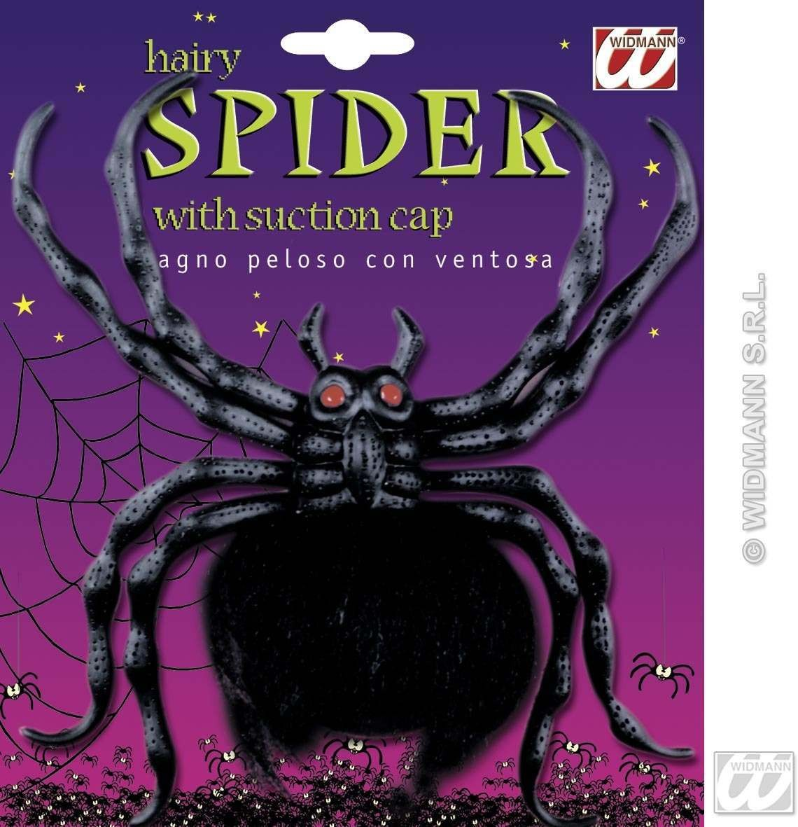 Hairy Spiders With Suction Cup 23Cm - Fancy Dress (Halloween)