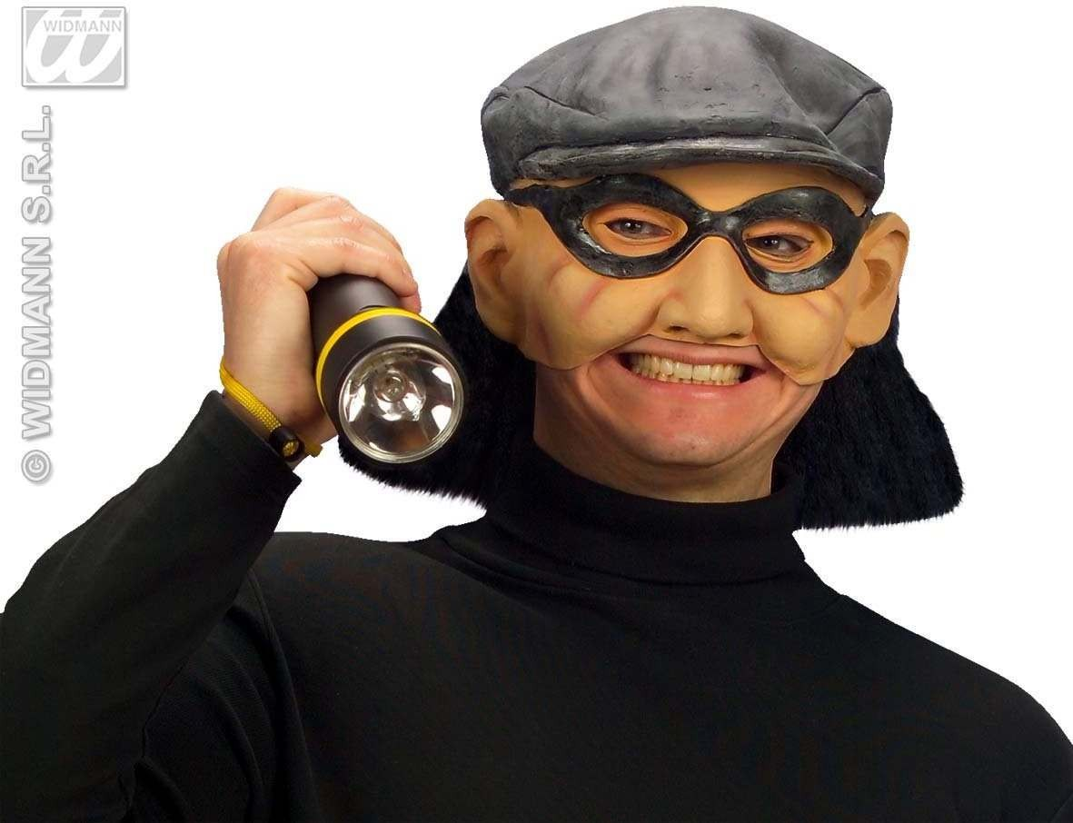 Chinless Thief Mask W/Hat/Hair - Fancy Dress (Cops/Robbers)