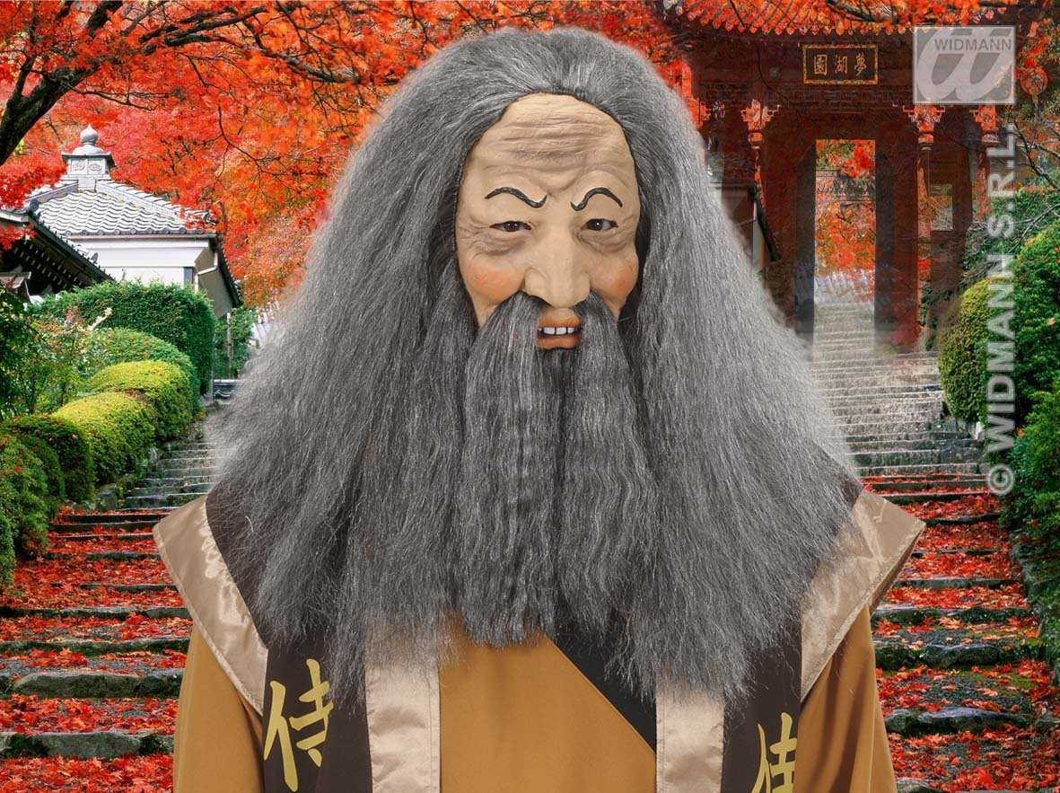 Confucius Masks W/ Wig Beard & Moustache, Fancy Dress (Animals)