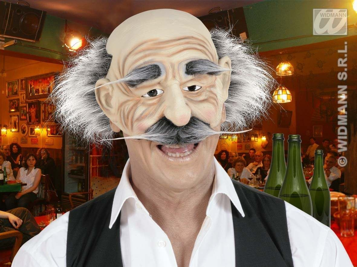 Chinless Old Man Masks Hair/Eyebrows/Moust Fancy Dress