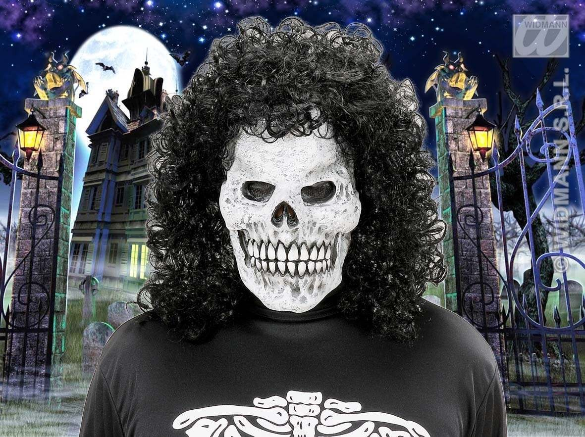 Skull Masks With Curly Hair Wig - Fancy Dress