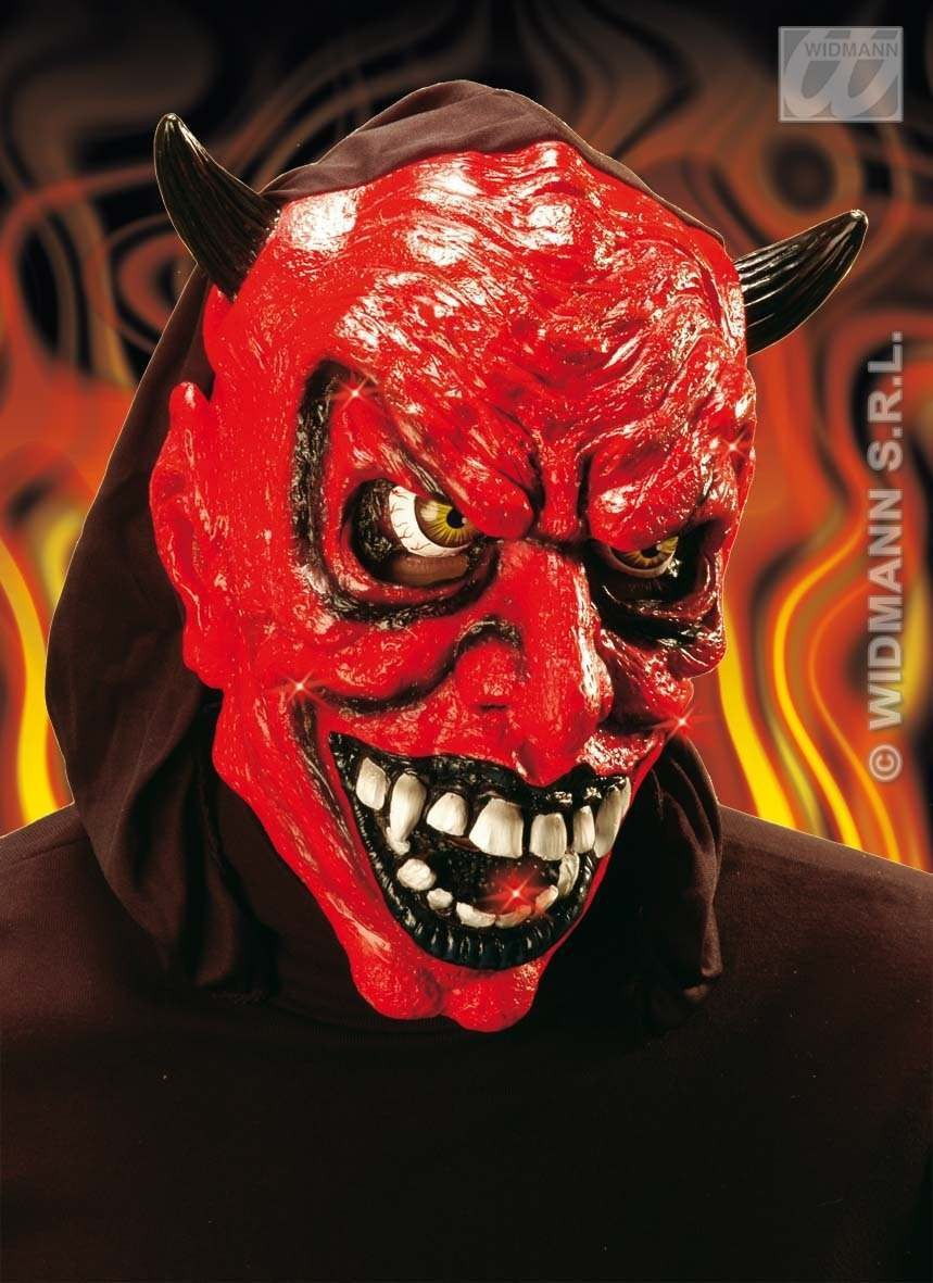 Hooded Light-Up Devil Masks Fancy Dress (Halloween)