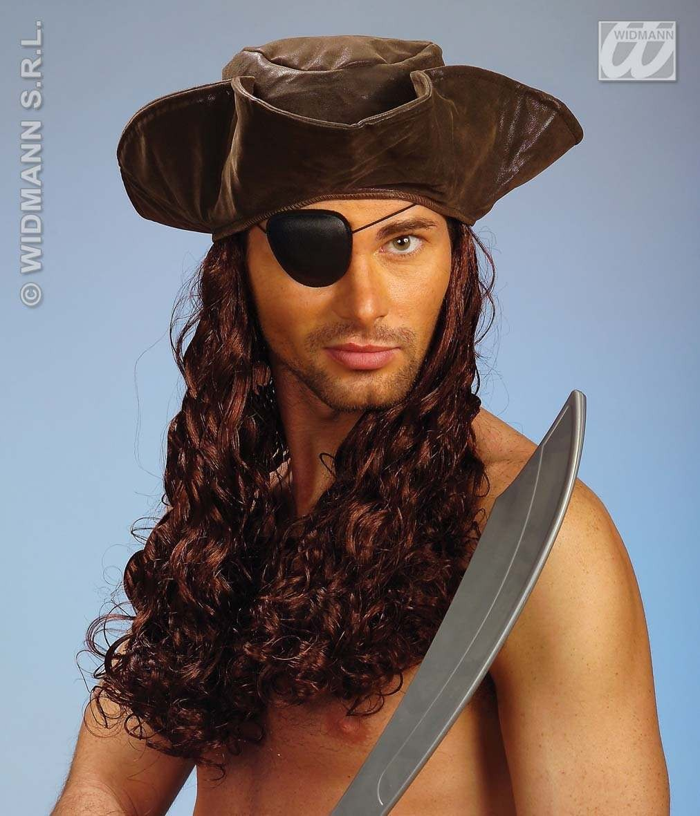 Leatherlook Pirate Tricorn/Wig - Fancy Dress (Pirates)