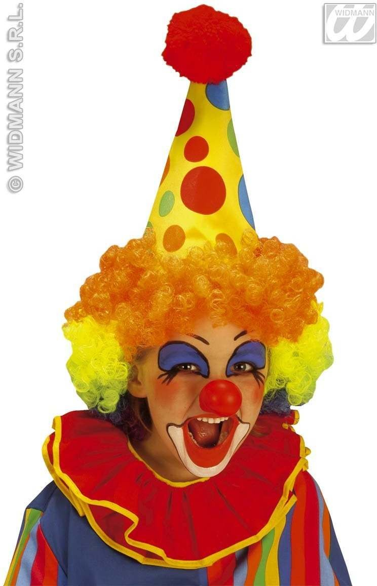Clown Hat W/Multi Colour Hair Kids - Fancy Dress (Clowns)