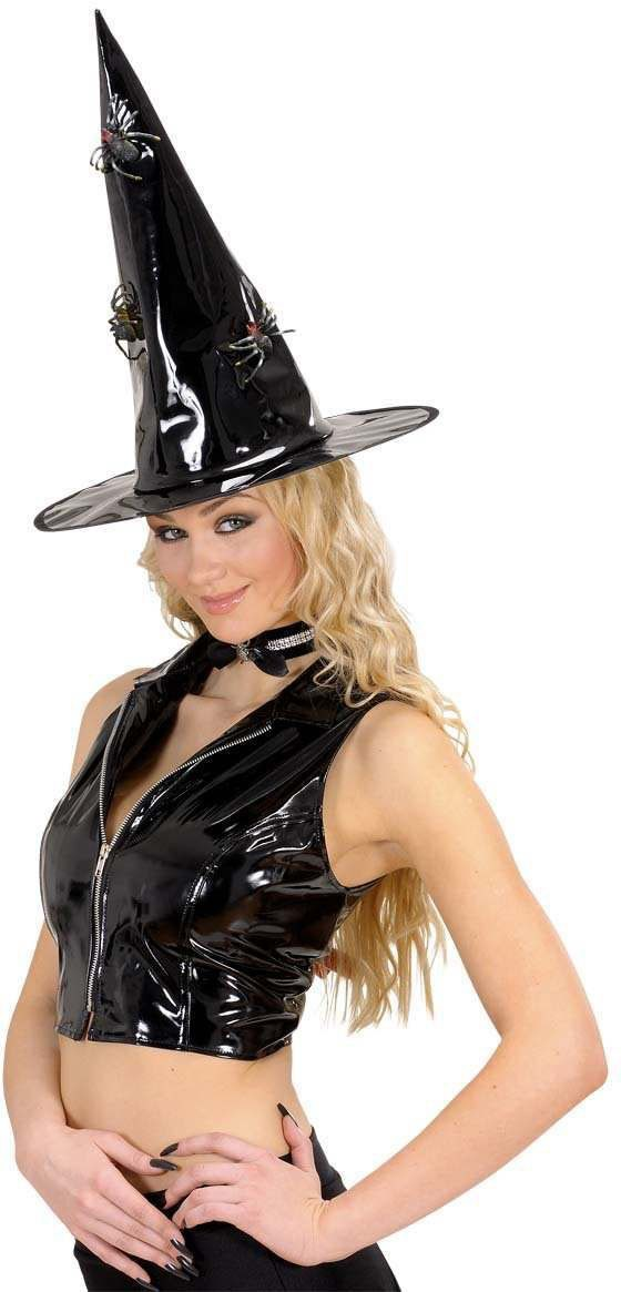 Vinyl Witch Hats With 3 Spiders - Fancy Dress (Halloween)
