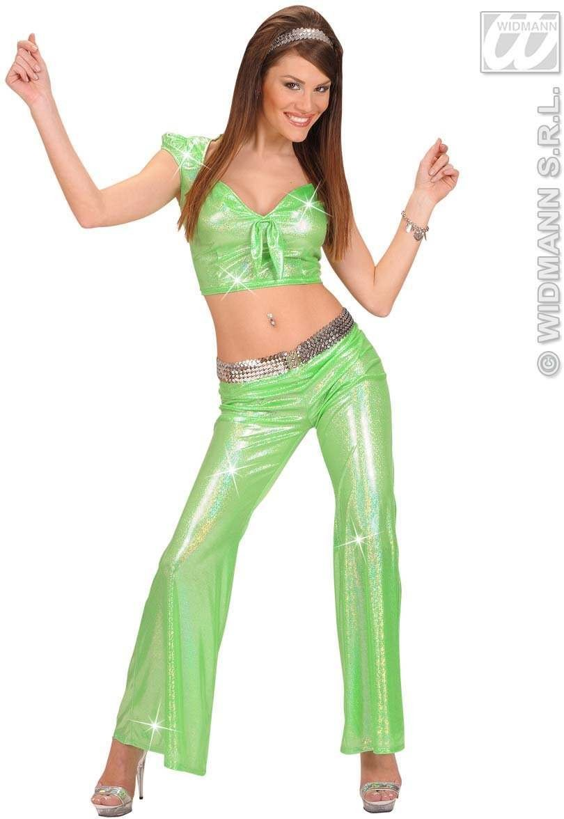 Holographic Sequin Ribbon Top - Green - Fancy Dress