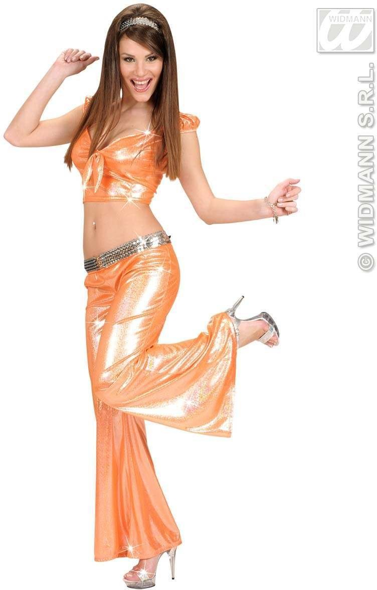 Holographic Sequin Ribbon Top - Orange - Fancy Dress