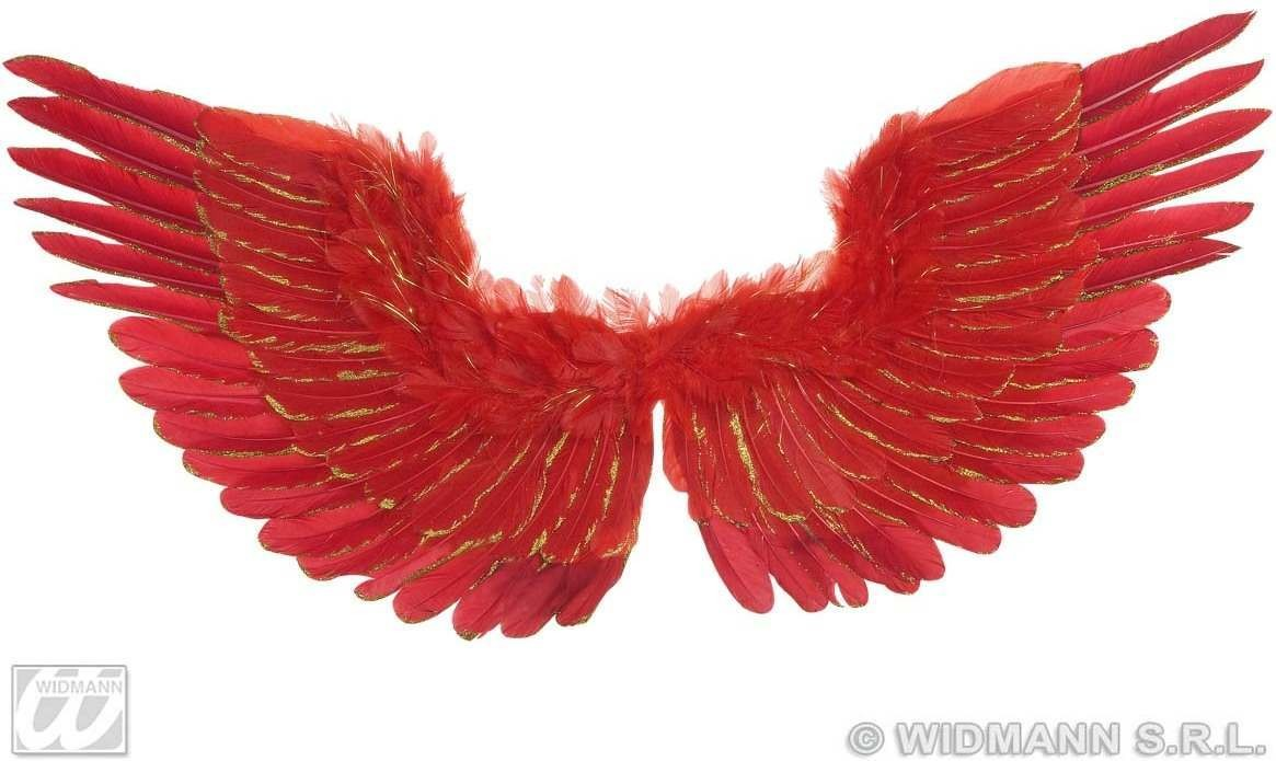 Red Feathered Wings W/Gold Glitter 86X42Cm, Fancy Dress