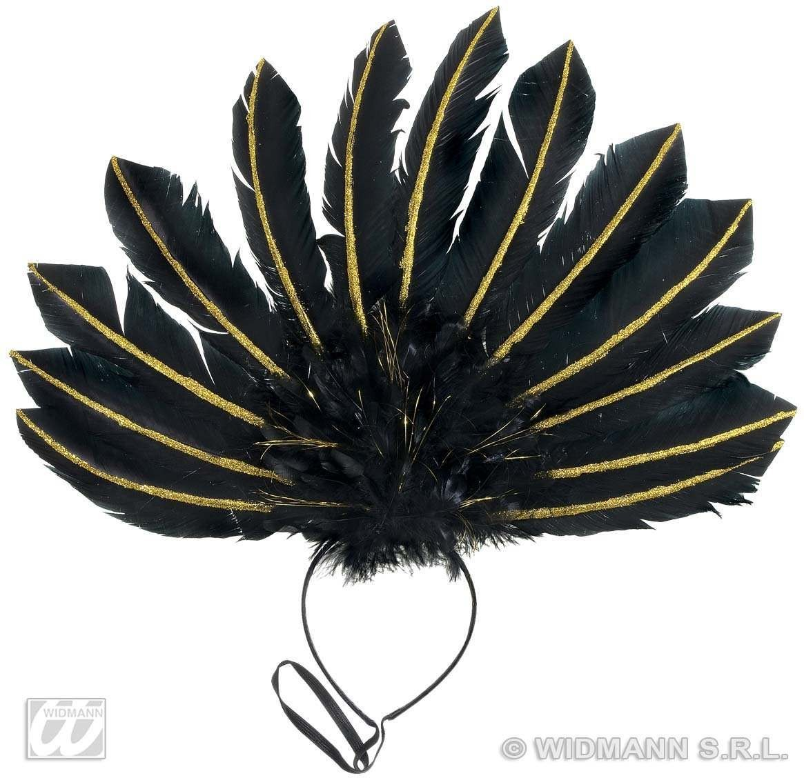 Blk Feathered Headbands W/Gold Glit Accents Fancy Dress