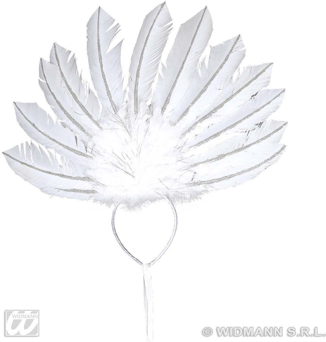 White Feathered Headband Fancy Dress