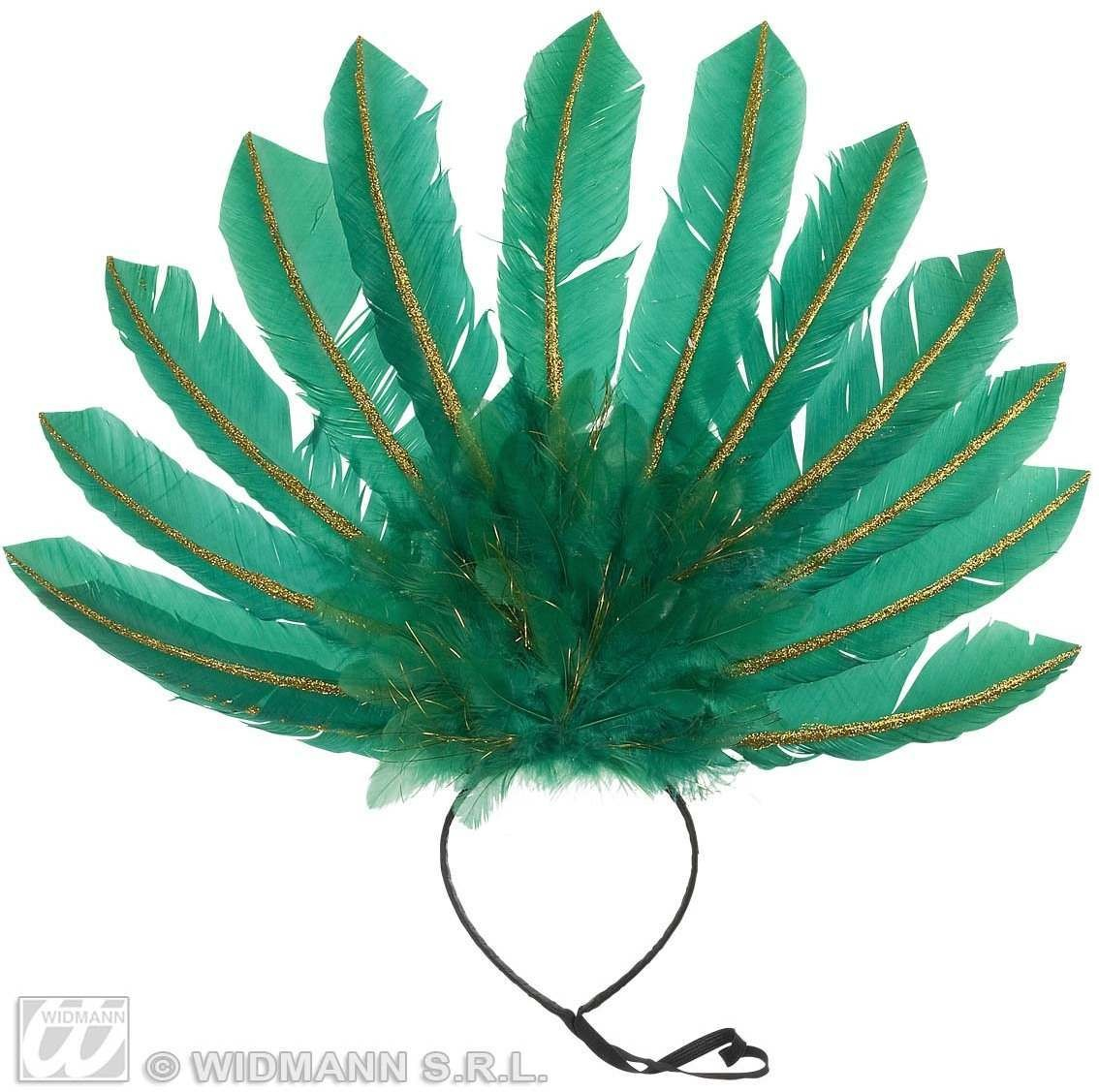 Green Feathered Headband Fancy Dress