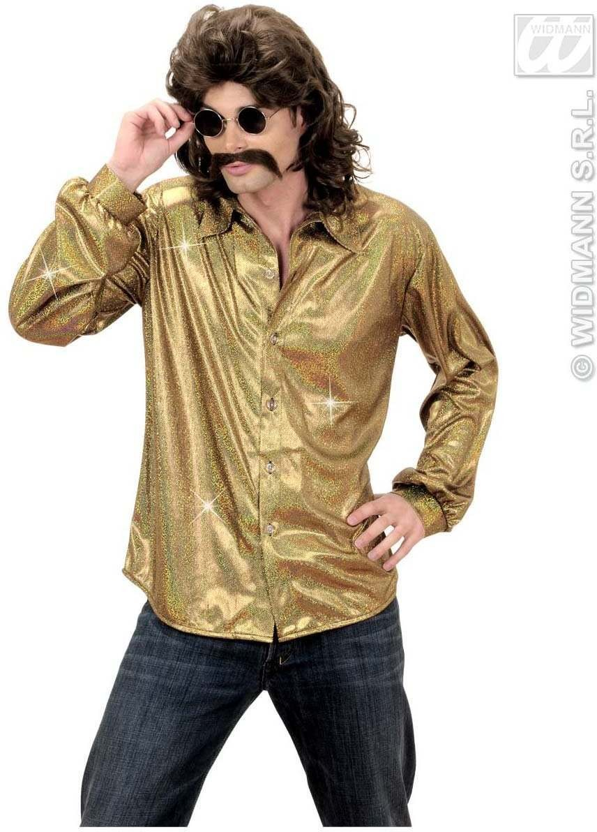Holographic Sequin Shirt - Gold - Fancy Dress