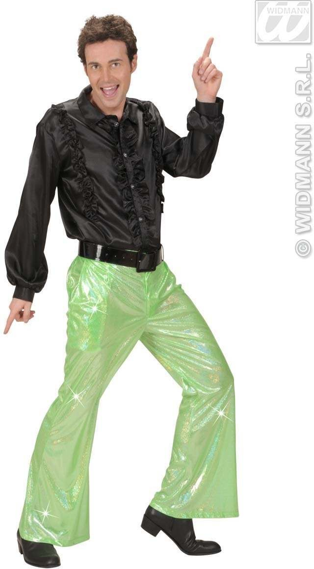 Holographic Sequin Pants - Green - Fancy Dress