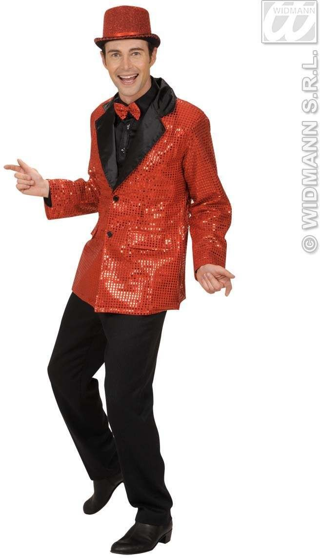 Sequin Jacket W/Satin Collar - Red - Fancy Dress