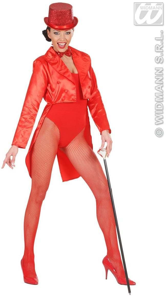 Tailcoat Red Satin Womens Fancy Dress Costume Ladies