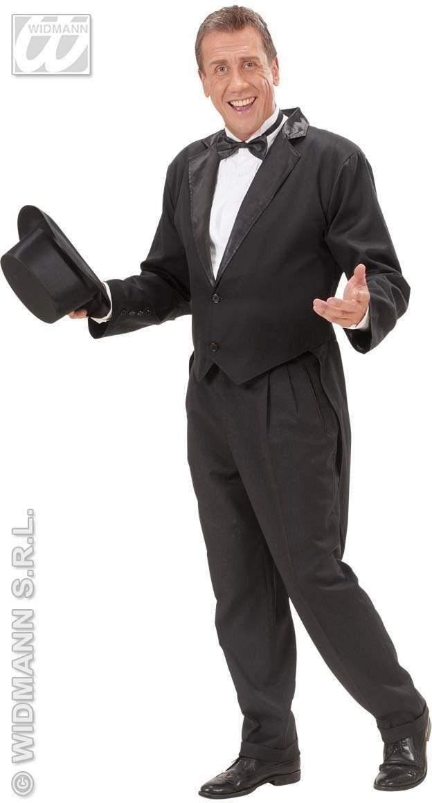 Mens Blk Lined Tailcoat Fancy Dress Costume