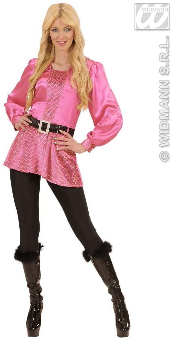 Pink Shirts W/Hologr.Sequins Belt Woman'S Costume