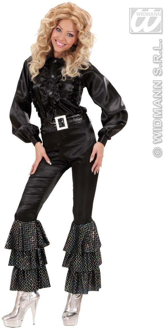 Satin Pants Black W/Holog.Sequins Woman'S Costume